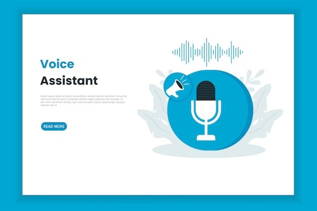 Pagina di destinazione dell'illustrazione di controllo dell'assistente vocale