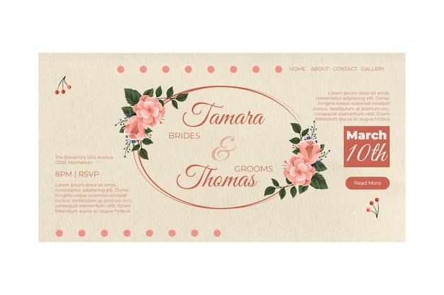 Pagina di destinazione dell'invito di nozze