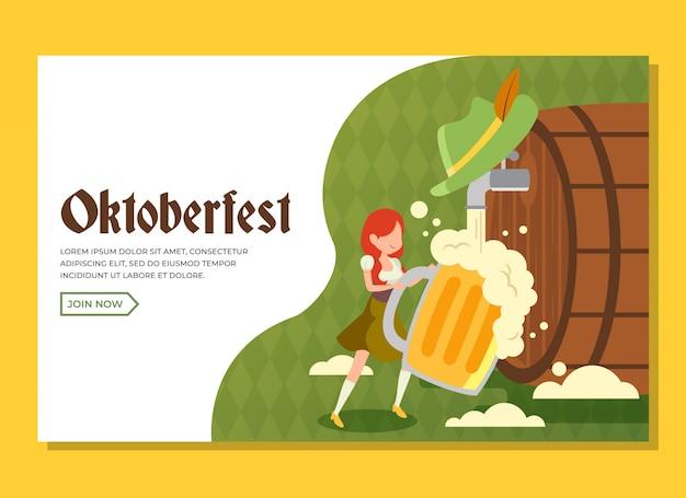Pagina di destinazione dell'oktoberfest con ragazza che tiene un enorme bicchiere di birra