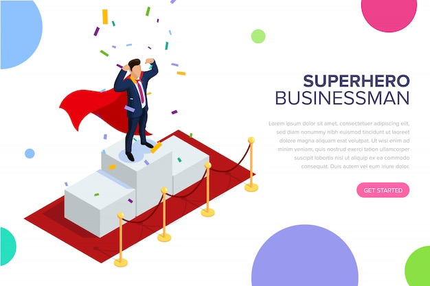 Pagina di destinazione dell'uomo d'affari del supereroe