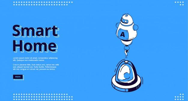 Pagina di destinazione della casa intelligente con l'icona di robot