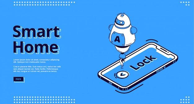 Pagina di destinazione della chiave di casa intelligente, icona del telefono cellulare