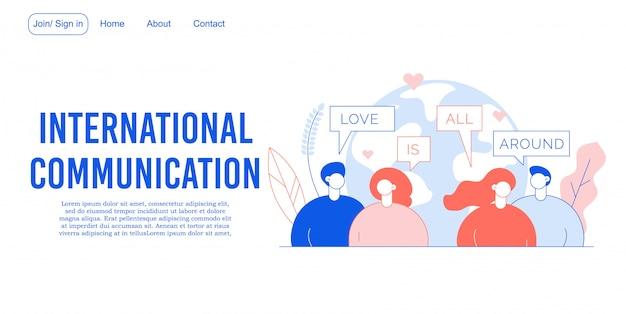 Pagina di destinazione della comunicazione sulla rete internazionale