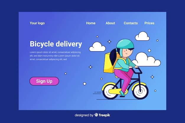 Pagina di destinazione della consegna di biciclette