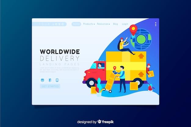 Pagina di destinazione della consegna in tutto il mondo