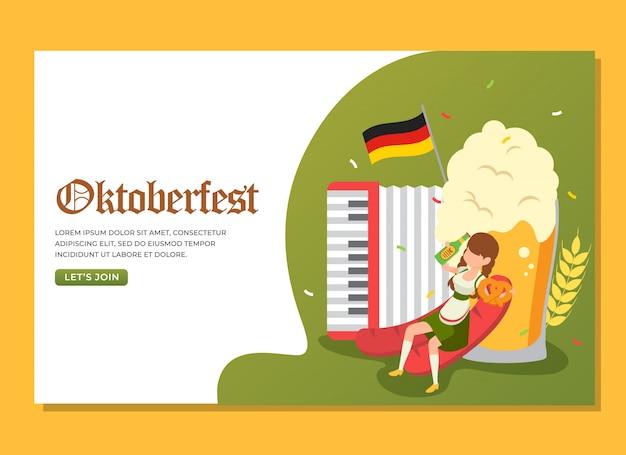 Pagina di destinazione della donna che beve e che tiene la ciambellina salata per celebrare l'evento dell'oktoberfest