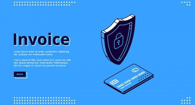 Pagina di destinazione della fattura, pagamento mobile di sicurezza
