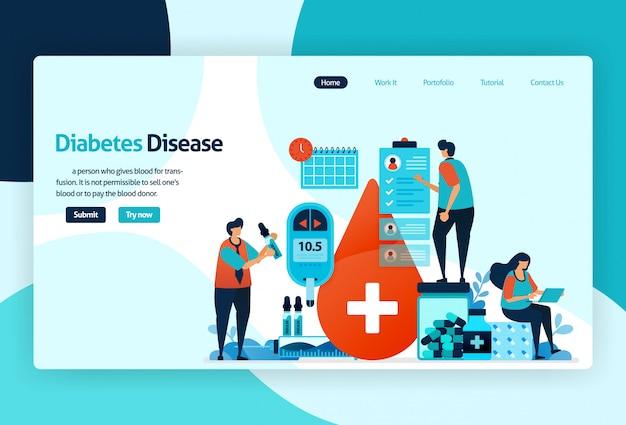 Pagina di destinazione della malattia del diabete