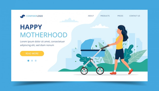 Pagina di destinazione della maternità felice