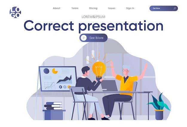Pagina di destinazione della presentazione corretta con intestazione. il team di marketing crea presentazioni aziendali, brainstorming e condivisione di idee in ufficio. illustrazione piana di situazione di lavoro di squadra e di coworking.
