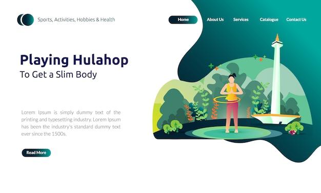 Pagina di destinazione della ragazza che gioca a hula hoop per ottenere un corpo snello
