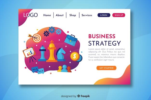 Pagina di destinazione della strategia aziendale con simboli diversi
