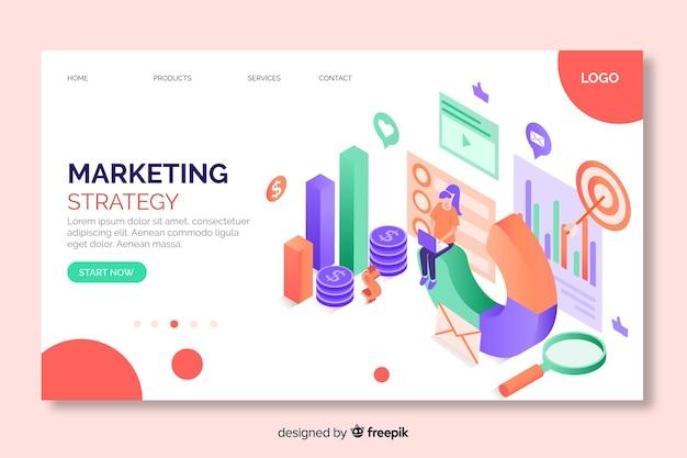 Pagina di destinazione della strategia di marketing isometrica