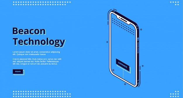Pagina di destinazione della tecnologia beacon con smartphone