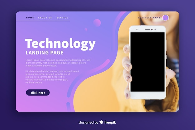 Pagina di destinazione della tecnologia con foto del telefono