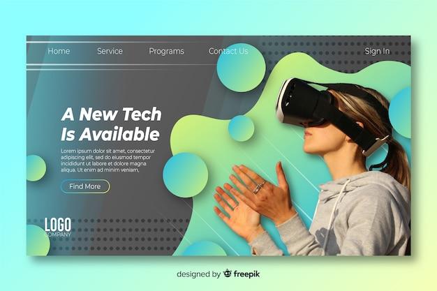 Pagina di destinazione della tecnologia con occhiali per realtà virtuale