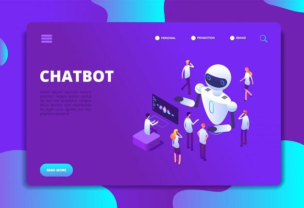 Pagina di destinazione della tecnologia futura di conversazione di intelligenza artificiale