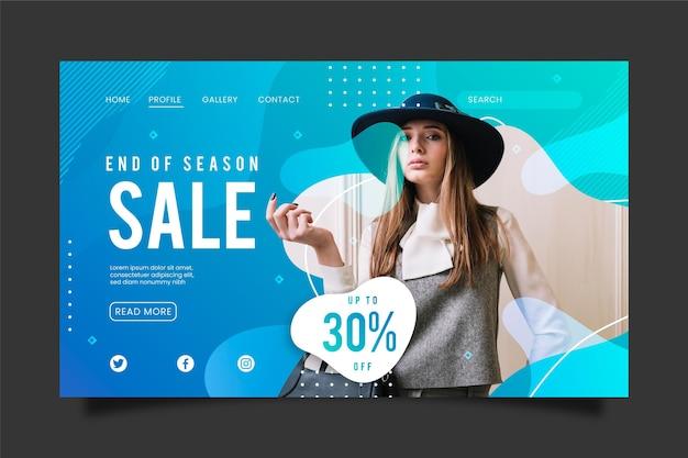 Pagina di destinazione della vendita di moda