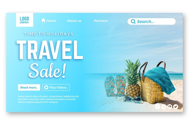 Pagina di destinazione della vendita in viaggio