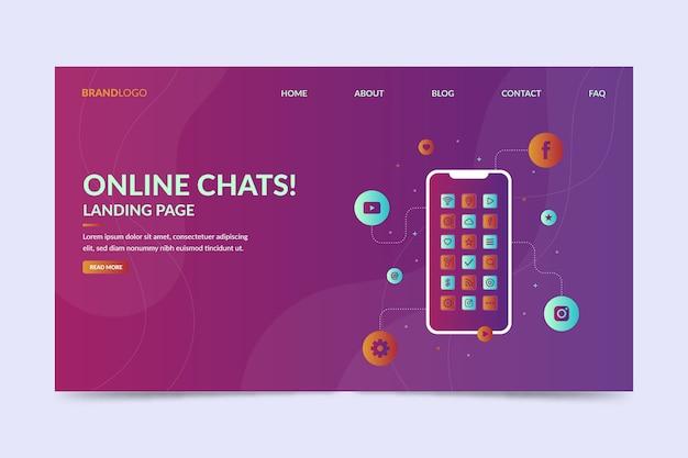 Pagina di destinazione delle chat online con smartphone