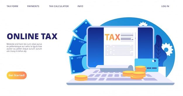 Pagina di destinazione delle tasse online. modello di banner web modulo fiscale digitale vettoriale