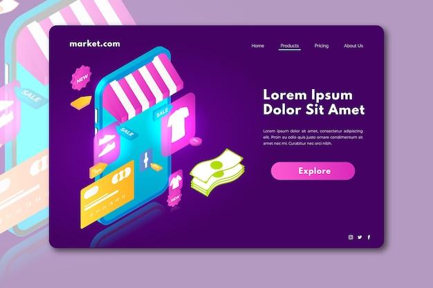 Pagina di destinazione dello shopping online isometrica