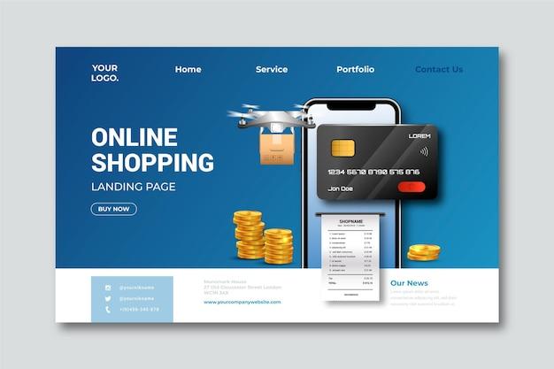 Pagina di destinazione dello shopping online modello realistico
