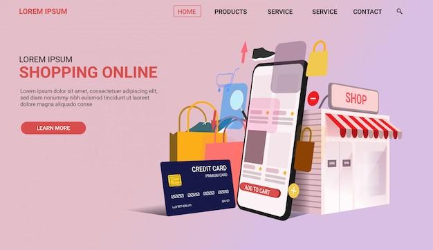 Pagina di destinazione dello shopping online per un sito web reattivo