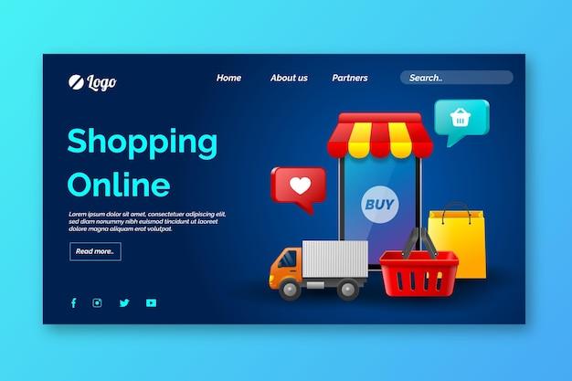 Pagina di destinazione dello shopping online realistica