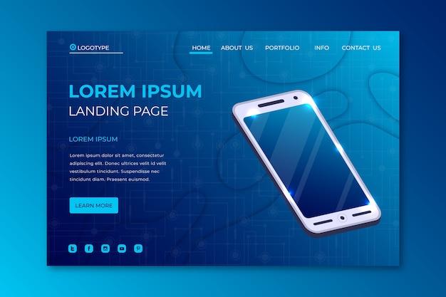 Pagina di destinazione dello smartphone modello