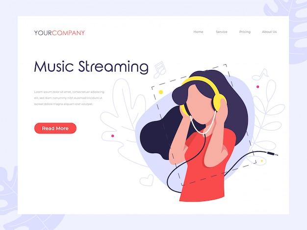 Pagina di destinazione dello streaming musicale