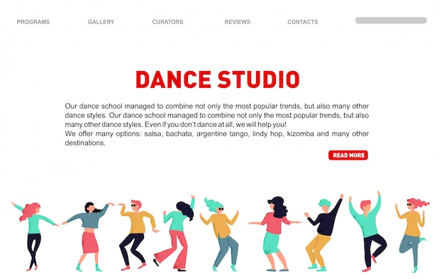 Pagina di destinazione dello studio di danza. illustrazione di persone danzanti. prova in studio di ballo.