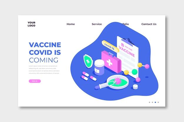 Pagina di destinazione dello sviluppo del vaccino coronavirus isometrico