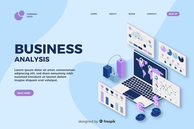 Pagina di destinazione di analisi commerciale nella progettazione isometrica
