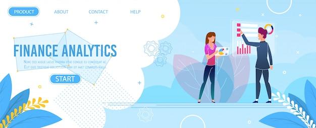 Pagina di destinazione di analisi dei dati finanziari e ricerca dei dati