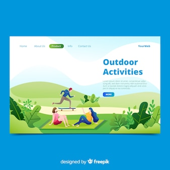 Pagina di destinazione di attività all'aperto disegnata a mano