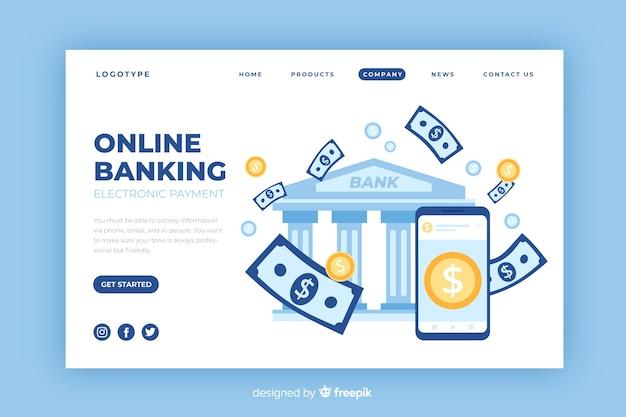 Pagina di destinazione di banking online