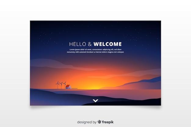 Pagina di destinazione di benvenuto con tramonto sfumato