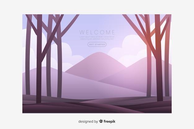 Pagina di destinazione di benvenuto con un panorama a gradiente