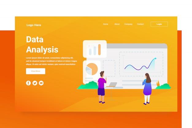 Pagina di destinazione di concetto dell'illustrazione di analisi di dati dell'intestazione della pagina web