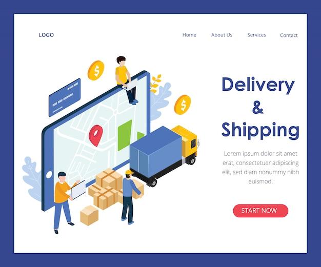 Pagina di destinazione di consegna e spedizione