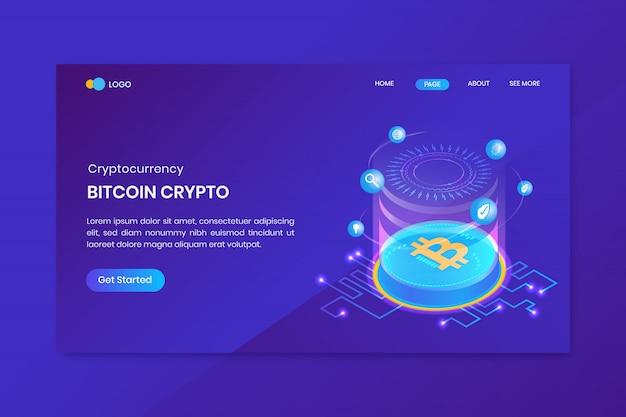 Pagina di destinazione di criptovaluta bitcoin isometrica