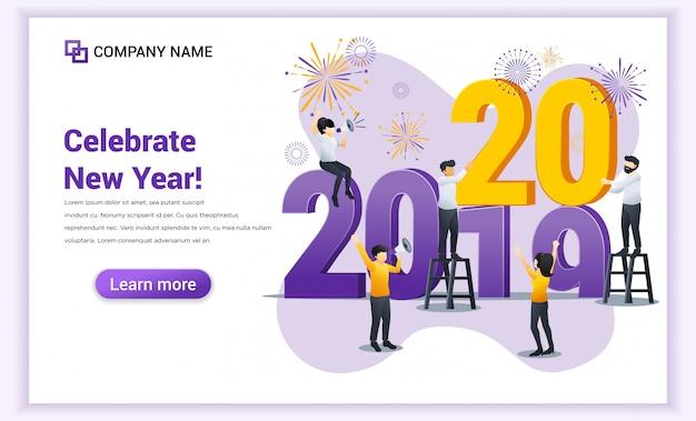 Pagina di destinazione di felice anno nuovo