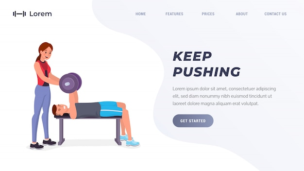 Pagina di destinazione di fitness o sport