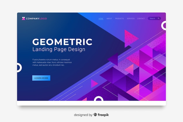 Pagina di destinazione di forme geometriche astratte colorate