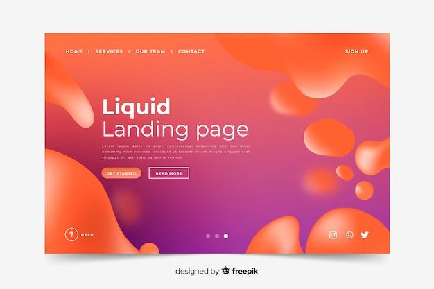 Pagina di destinazione di forme liquide modello