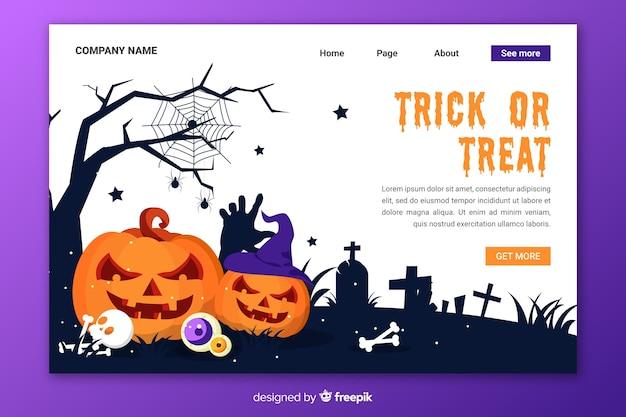Pagina di destinazione di halloween design piatto