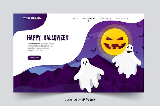 Pagina di destinazione di halloween di fantasmi e pipistrelli