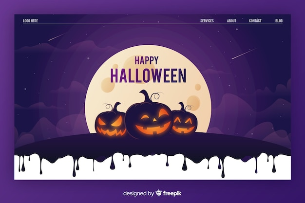 Pagina di destinazione di halloween in design piatto