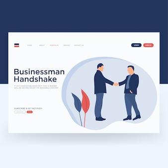 Pagina di destinazione di handshake dell'uomo d'affari